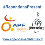 Logo de l'Appel des solidrités pour l'APF, représentant le log de l'APF avec un doigt levé.